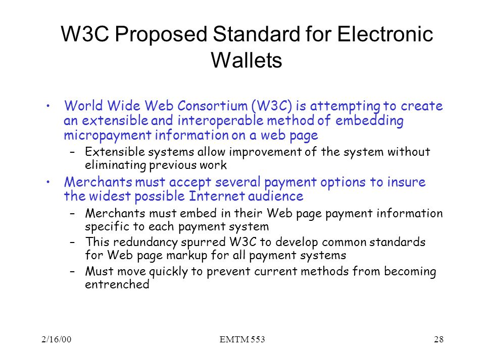 W3C Proposed Standard for Electronic Wallets