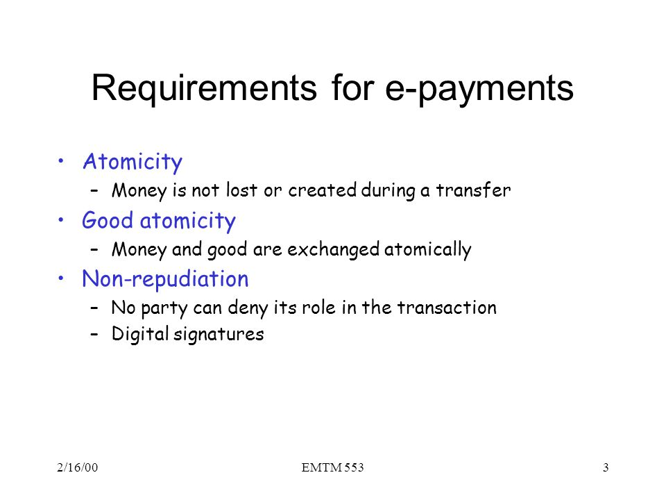Requirements for e-payments