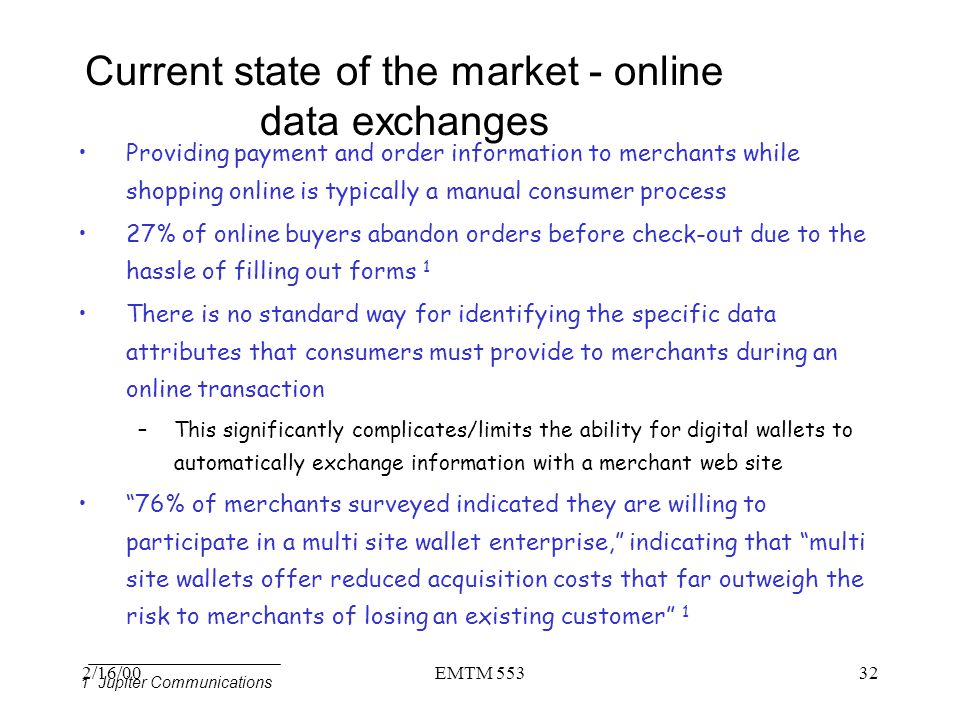 Current state of the market - online data exchanges