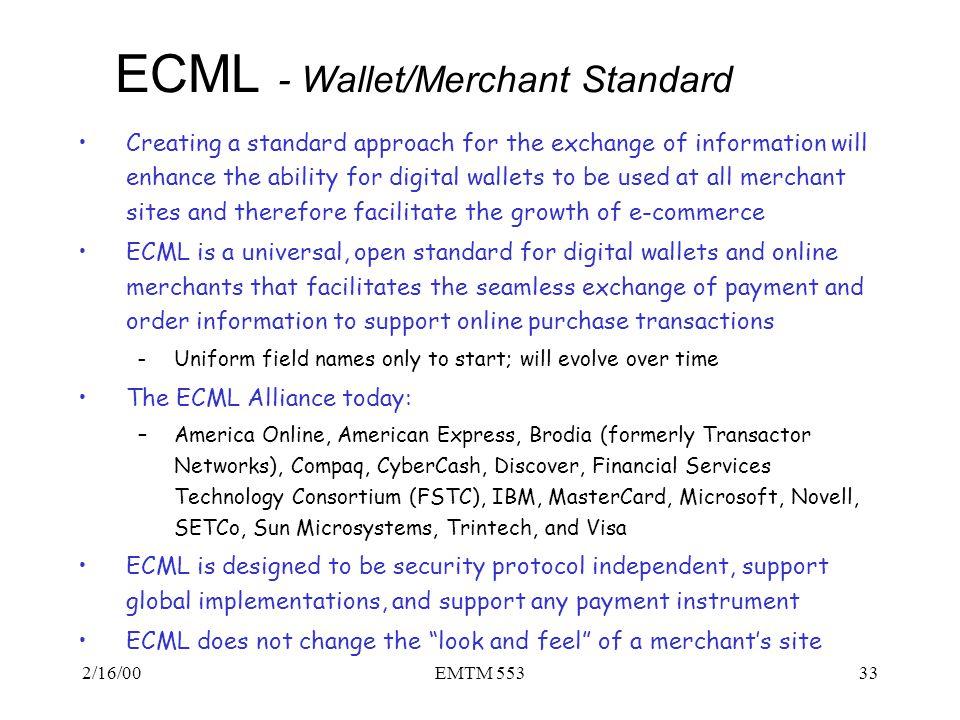 ECML - Wallet/Merchant Standard