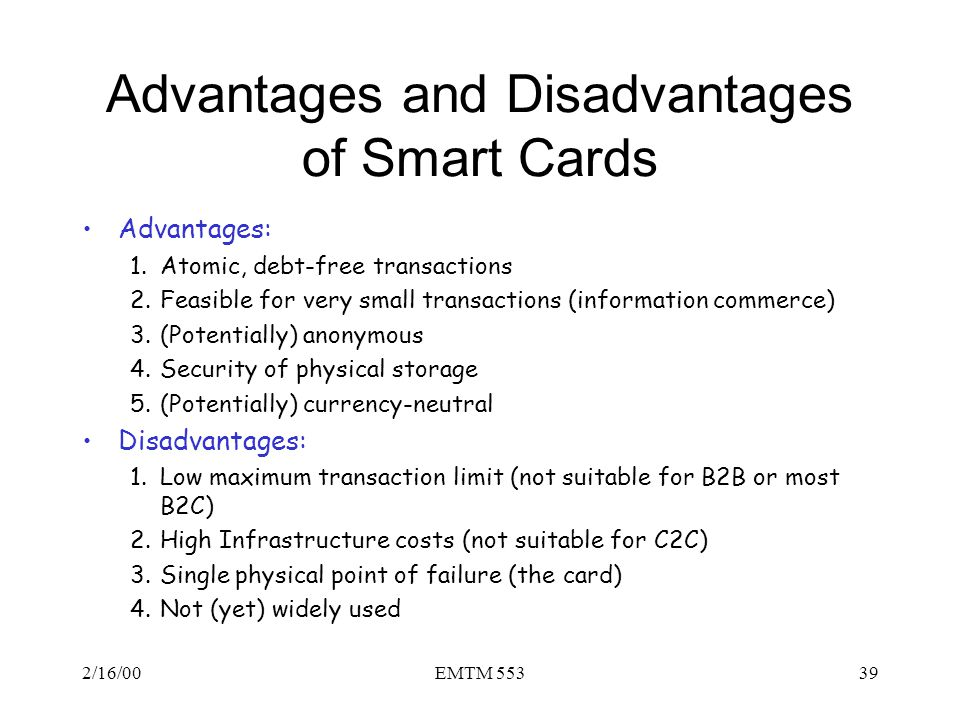 Advantages and Disadvantages of Smart Cards