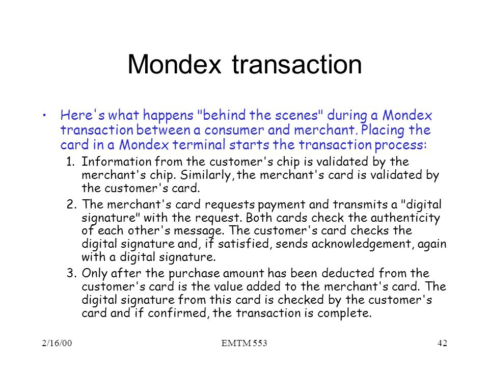 Mondex transaction