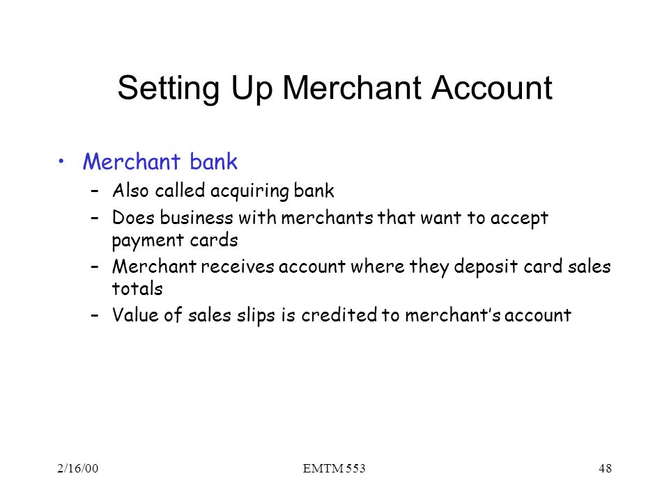 Setting Up Merchant Account