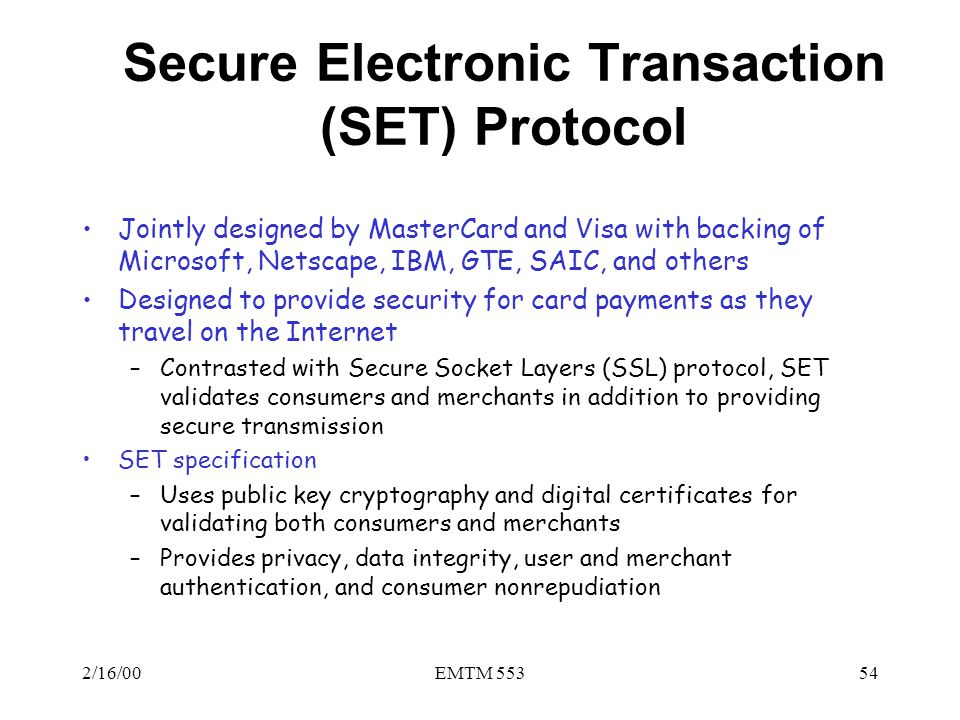 Secure Electronic Transaction (SET) Protocol
