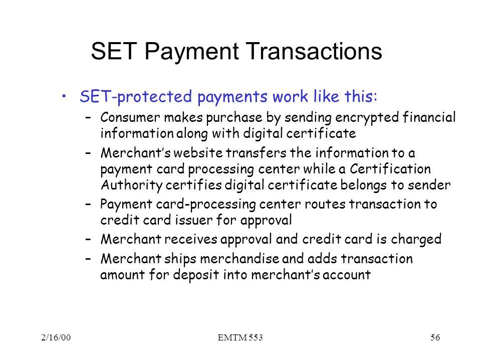 SET Payment Transactions