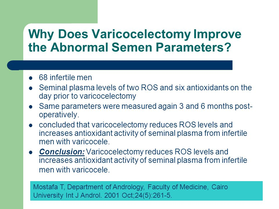 Why Does Varicocelectomy Improve the Abnormal Semen Parameters