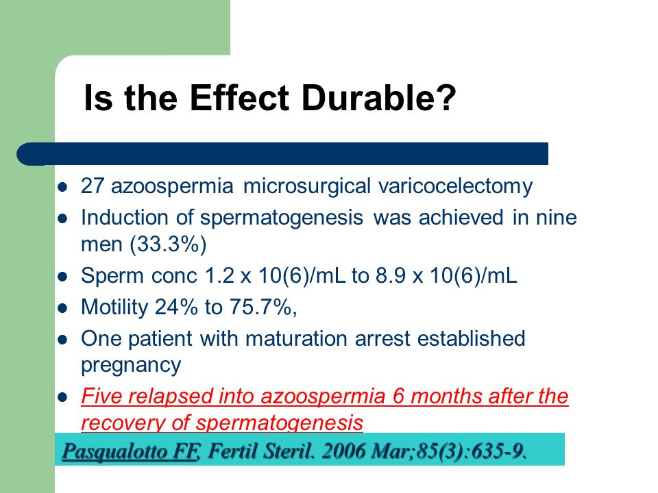 Is the Effect Durable 27 azoospermia microsurgical varicocelectomy