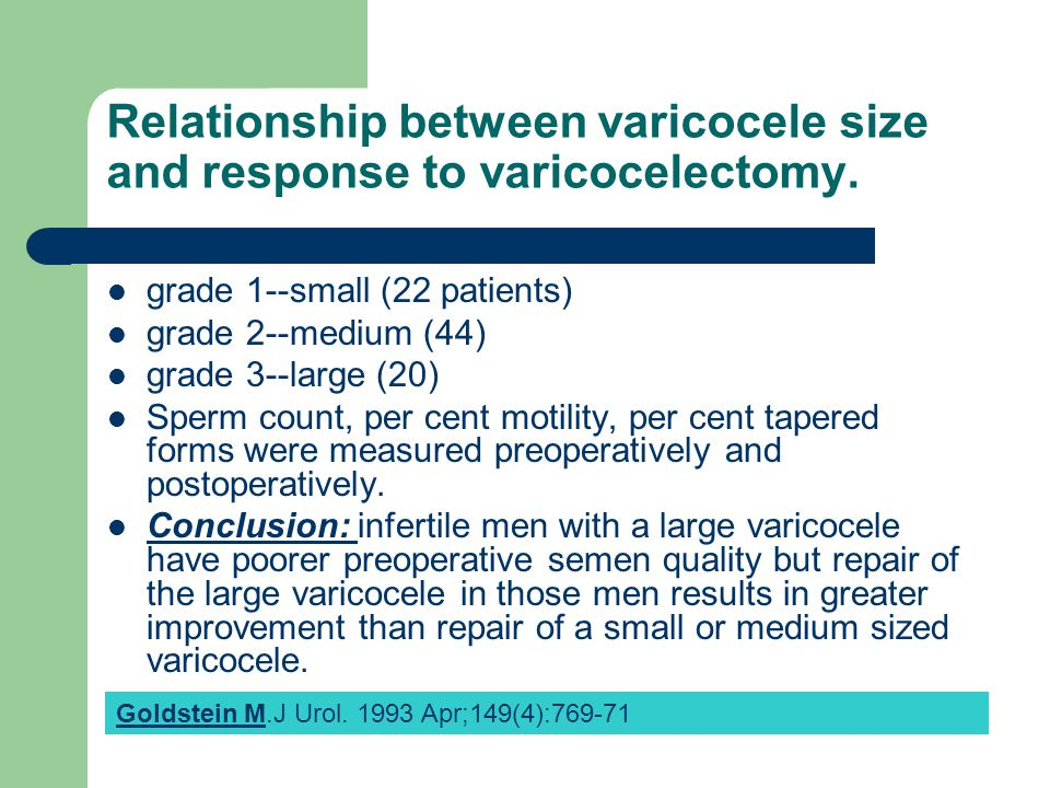 Relationship between varicocele size and response to varicocelectomy.