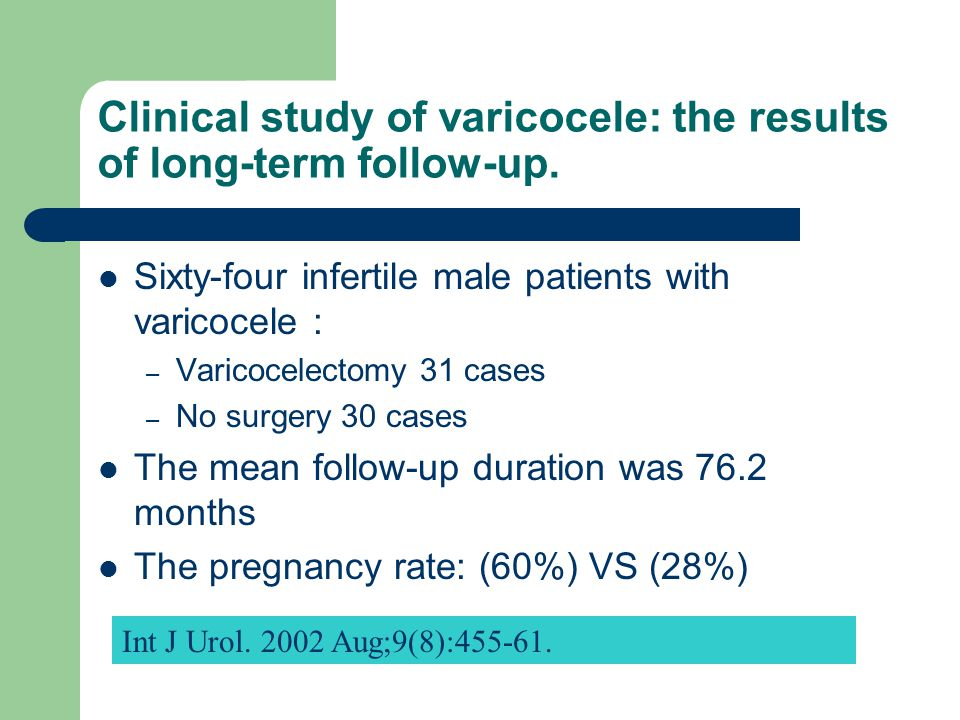 Clinical study of varicocele: the results of long-term follow-up.