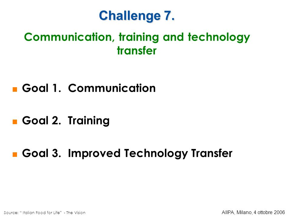Communication, training and technology transfer