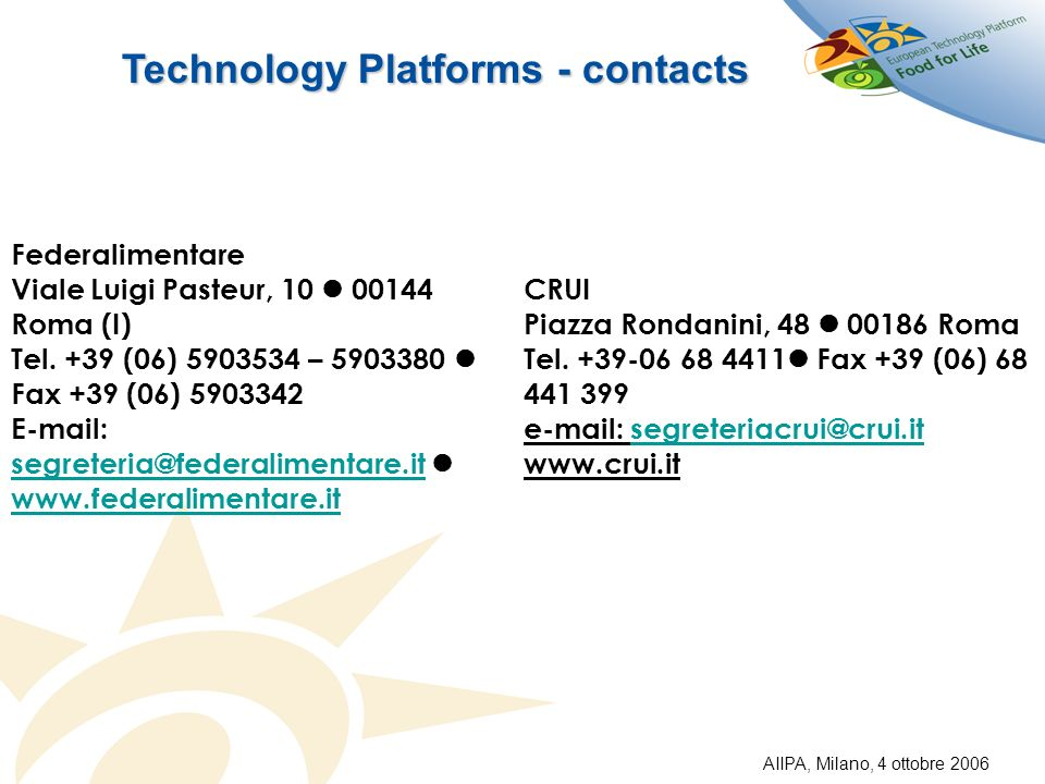 Technology Platforms - contacts