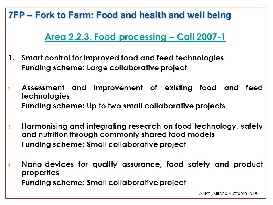 Area 2.2.3. Food processing – Call 2007-1