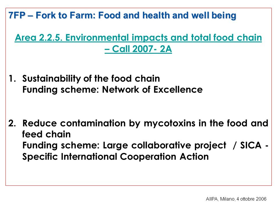 Area 2.2.5. Environmental impacts and total food chain