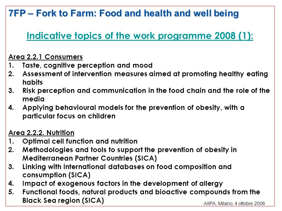 Indicative topics of the work programme 2008 (1):