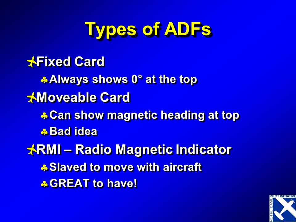 Types of ADFs Fixed Card Moveable Card RMI – Radio Magnetic Indicator