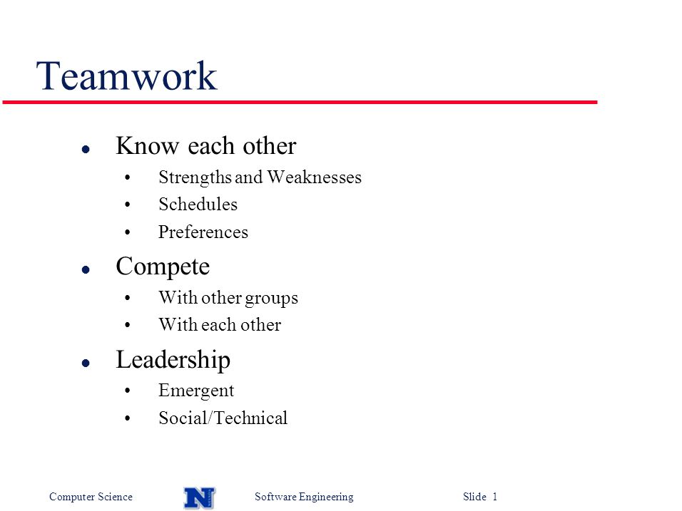 Teamwork Know each other Compete Leadership Strengths and ...