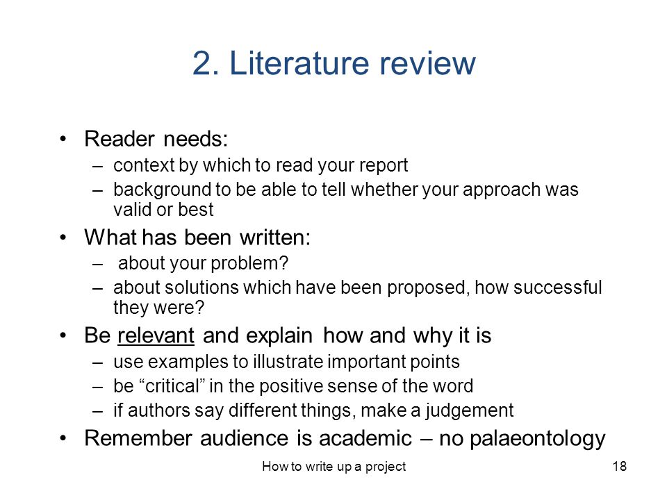 Writing up a literature review
