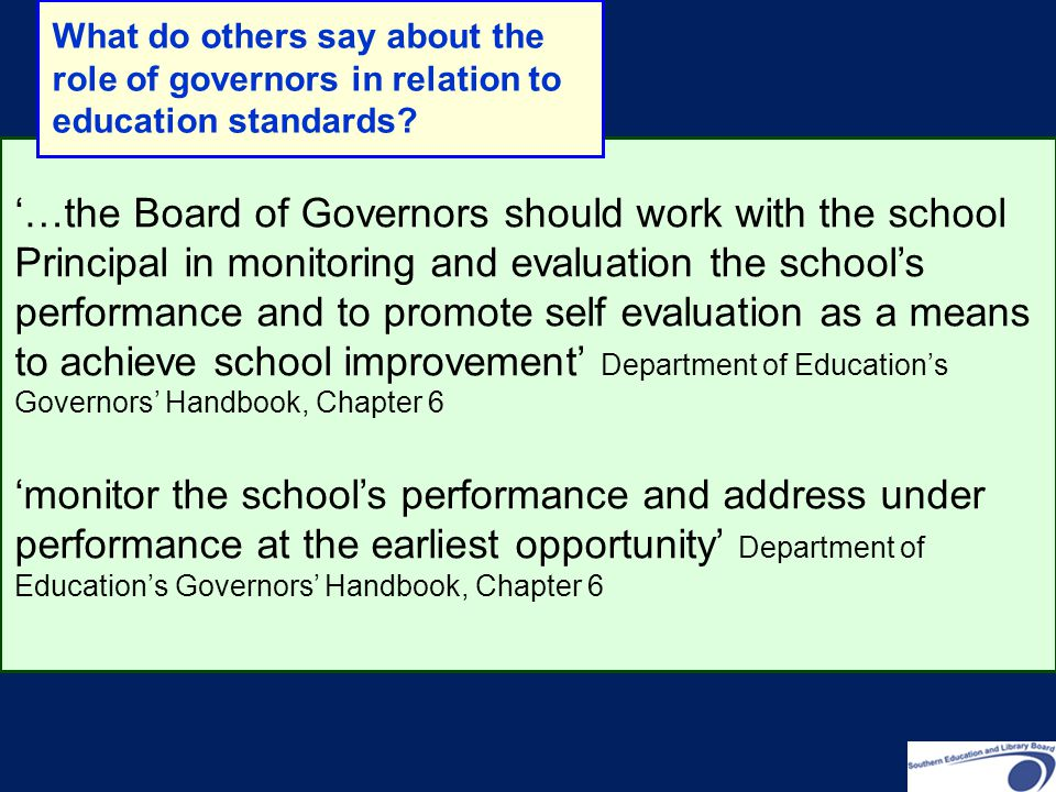 What do others say about the role of governors in relation to education standards