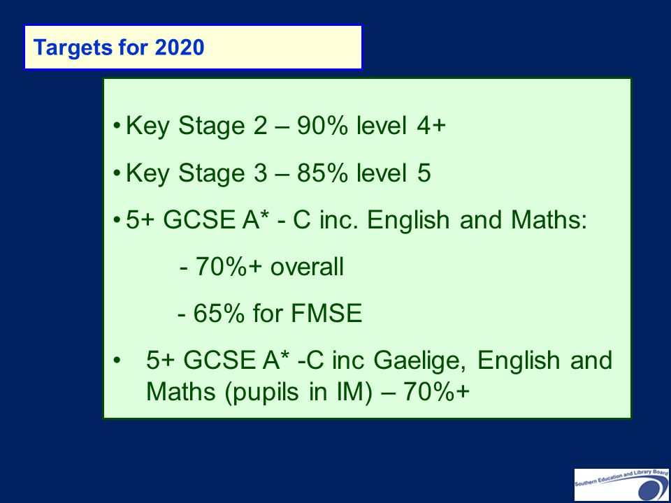 5+ GCSE A* - C inc. English and Maths: - 70%+ overall - 65% for FMSE