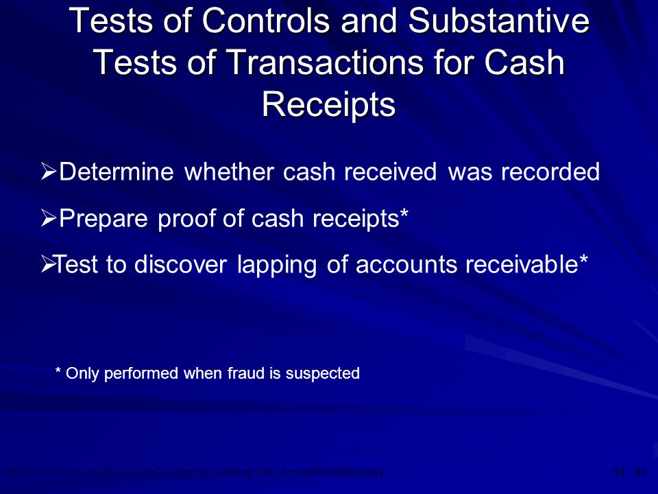test of controls over cash receipts These cash registers, the cashiers directly input cash receipts activity into the  cash receipts  test for cash handling fraud indicators and system control  failings.