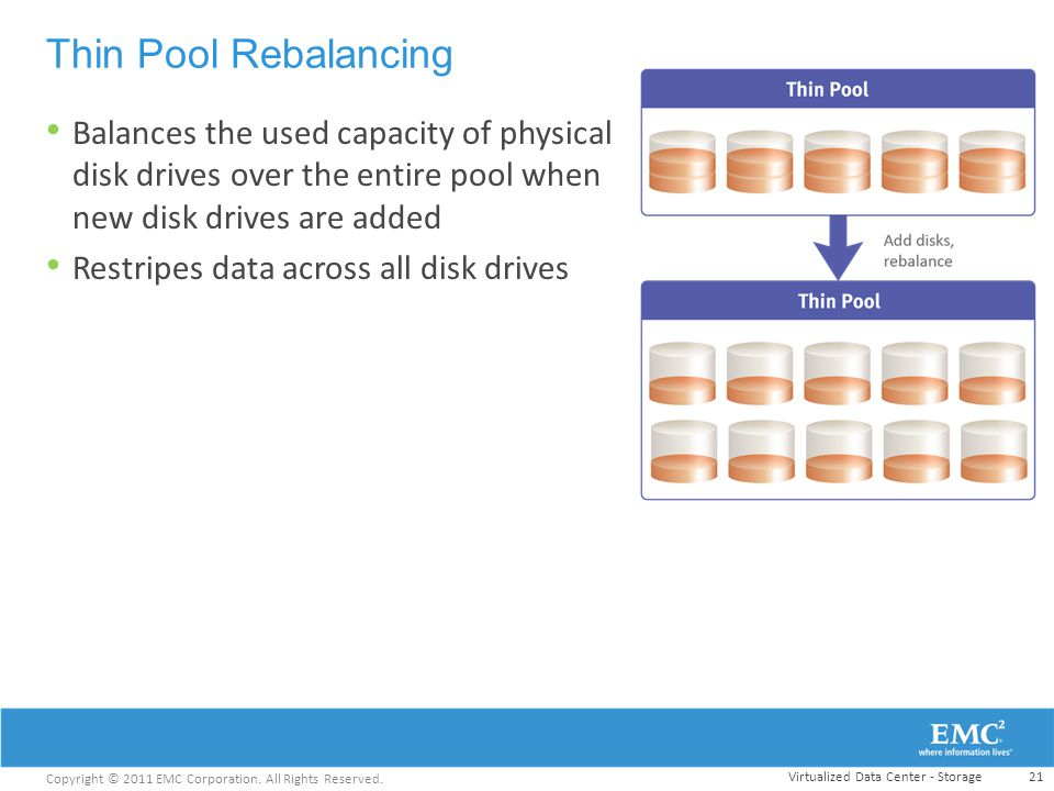 Thin Pool Rebalancing Balances the used capacity of physical disk drives over the entire pool when new disk drives are added.