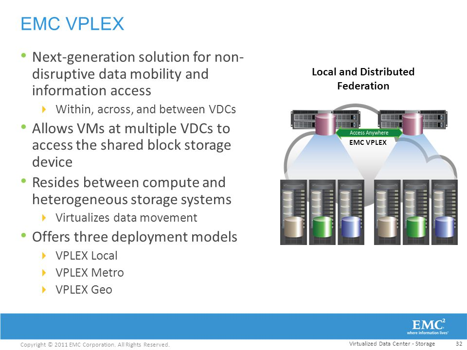 EMC VPLEX Next-generation solution for non-disruptive data mobility and information access. Within, across, and between VDCs.
