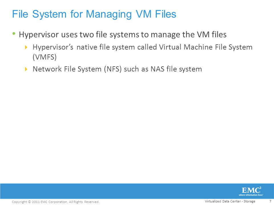File System for Managing VM Files
