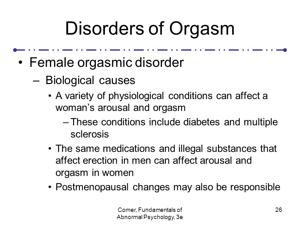 female orgasmic disorder Short description: female orgasmic disorder long description: female  orgasmic disorder this is the 2018 version of the icd-10-cm diagnosis code  f5231.