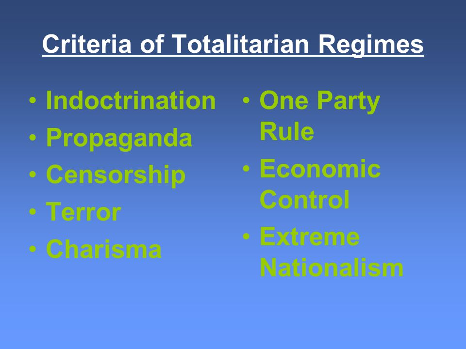 TOTALITARIAN DICTATORS...