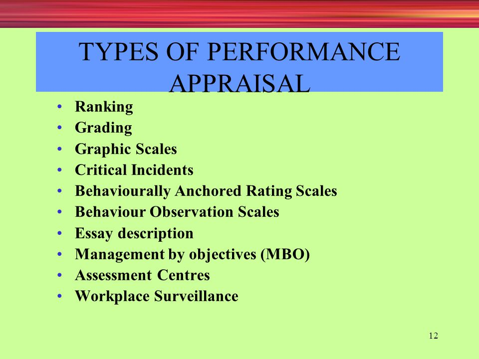 performance appraisal tyes You should be able to identify the key performance indicators as well and relay it to the people around you so that they can apply the changes that they need to the.