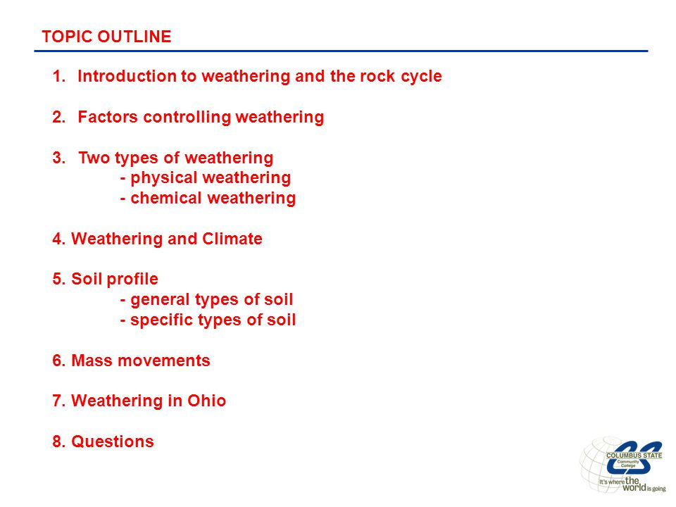 an introduction to the issue of chemical weathering Weathering is usually confined to the top few meters of geologic material, because physical, chemical, and biological stresses generally decrease with depth weathering of rocks occurs in place, but the disintegrated weathering products can be carried by water, wind, or gravity to another location (ie, erosion or mass wasting .