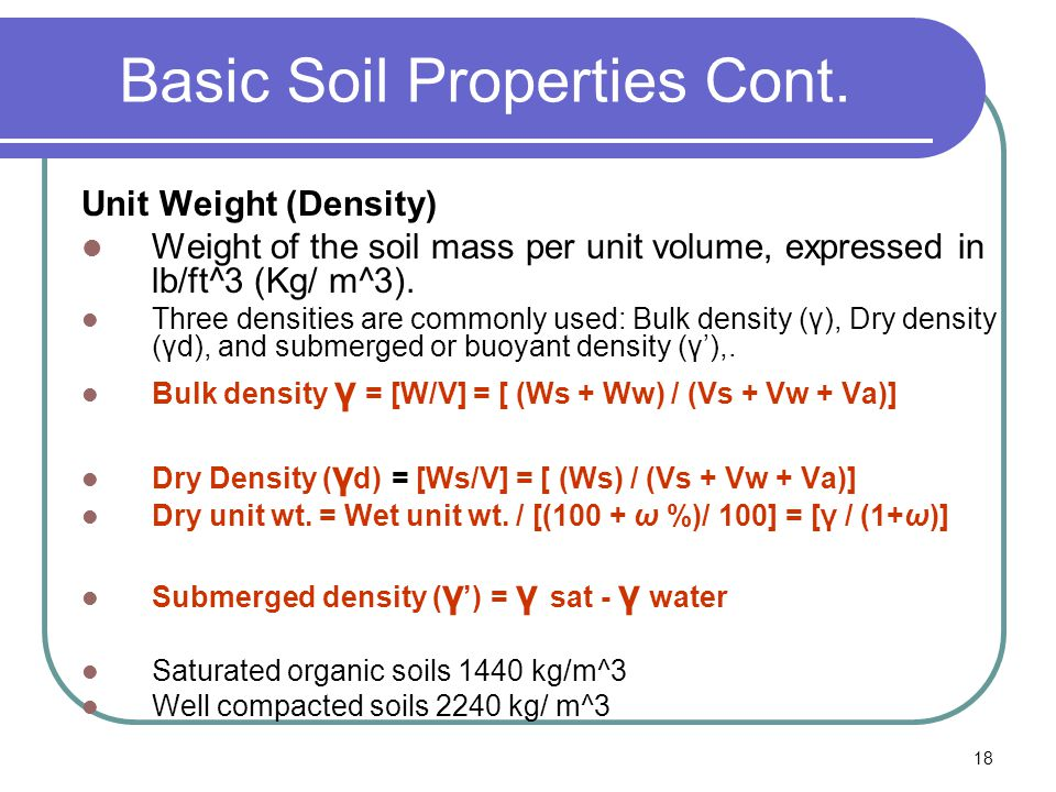 Highway engineering chapter 18 soil ppt video for Soil unit weight