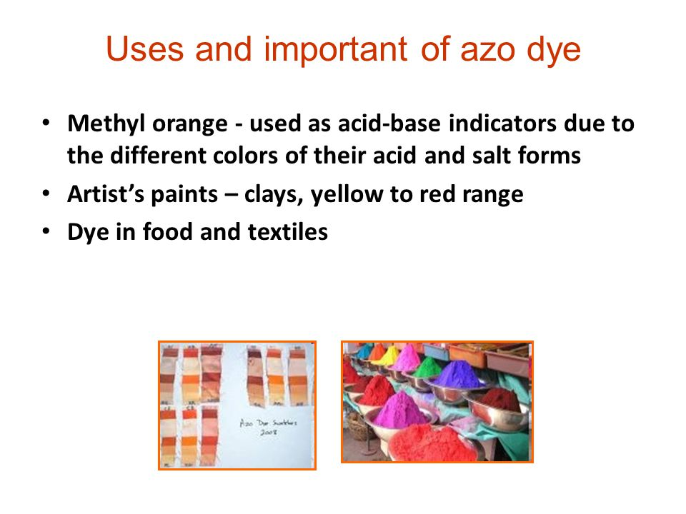 forming methyl orange an azo die Preparation and use of methyl orange-an a 2 0 dye structure 191 introduction objectives 192 azo dyes 193 principle 194 requirements you would be preparing methyl orange as a sample of azo dyes, and would be using it to dye a piece of cloth with nitrous acid (hono) to form a diazonium salt.