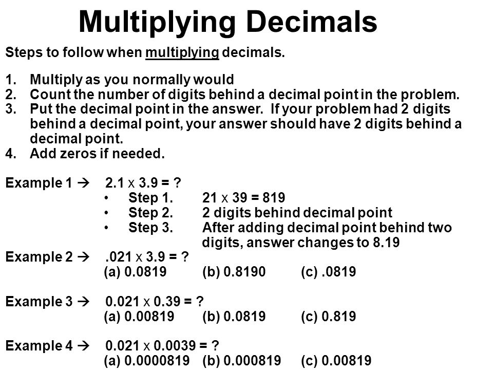 Multiply one-digit numbers with up to 2 decimal places by whole ...