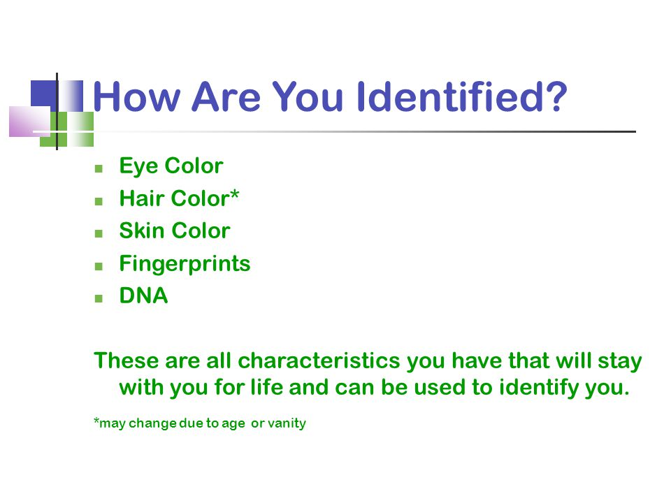 How Are You Identified Eye Color Hair Color* Skin Color Fingerprints