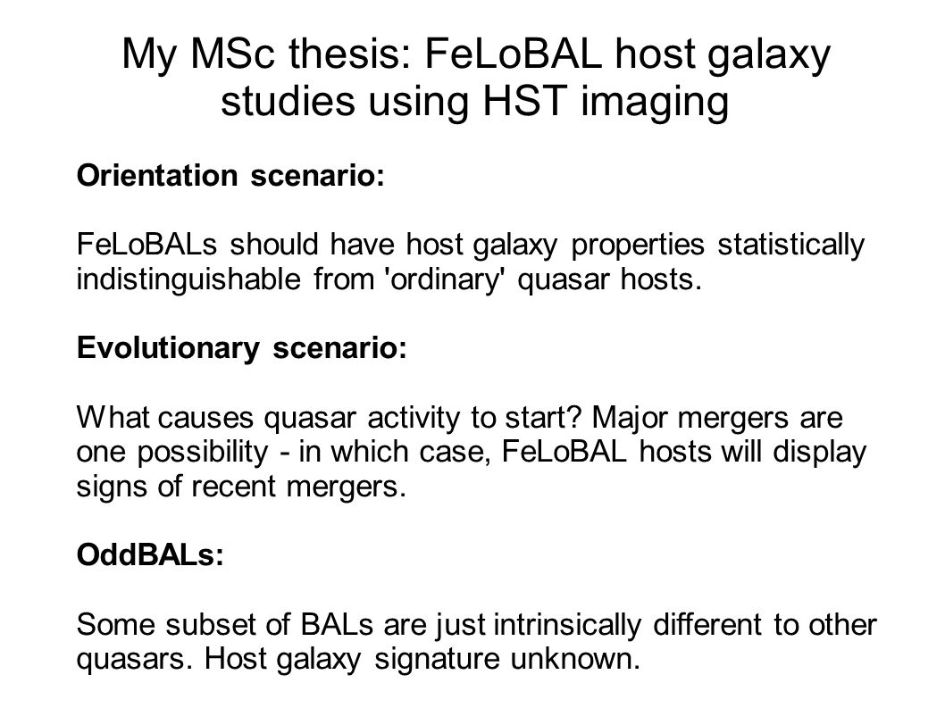 My MSc thesis: FeLoBAL host galaxy studies using HST imaging