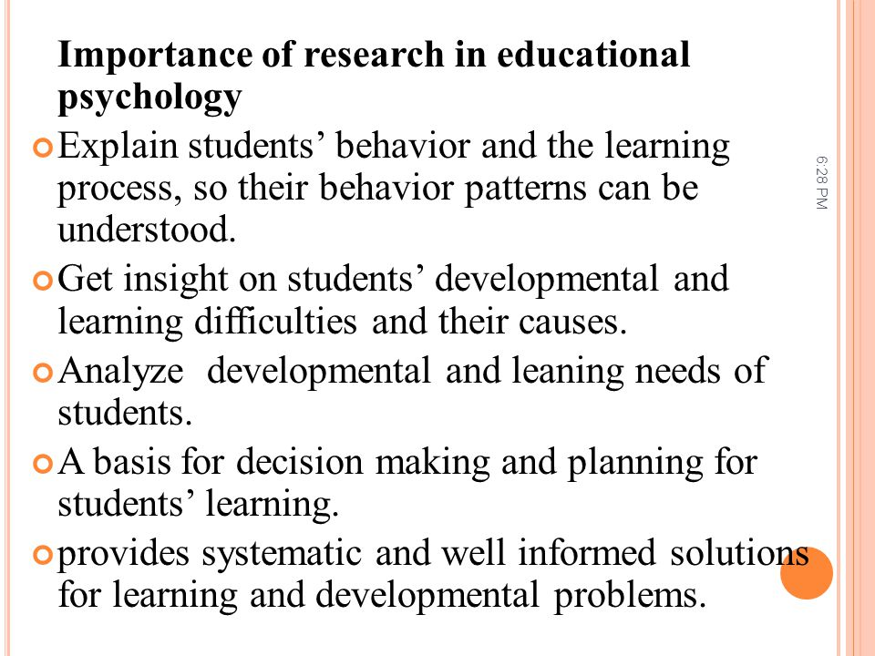 Importance of research in educational psychology