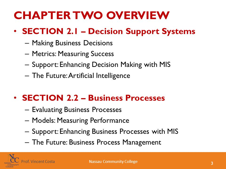 CHAPTER TWO OVERVIEW SECTION 2.1 – Decision Support Systems