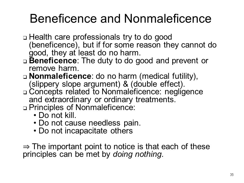 principles of beneficence nonmaleficence utility Beneficence nonmaleficence  this chapter presents two parallel principles of ethics: nonmaleficence and beneficence some ethics writers view these principles as .