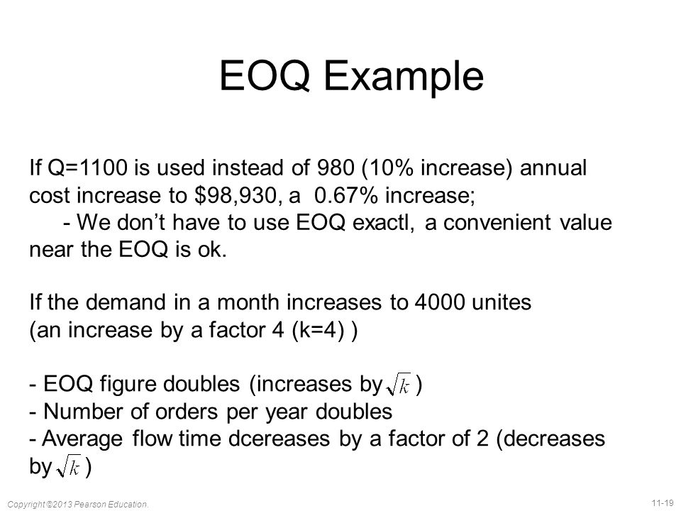 EOQ Example If Q=1100 is used instead of 980 (10% increase) annual