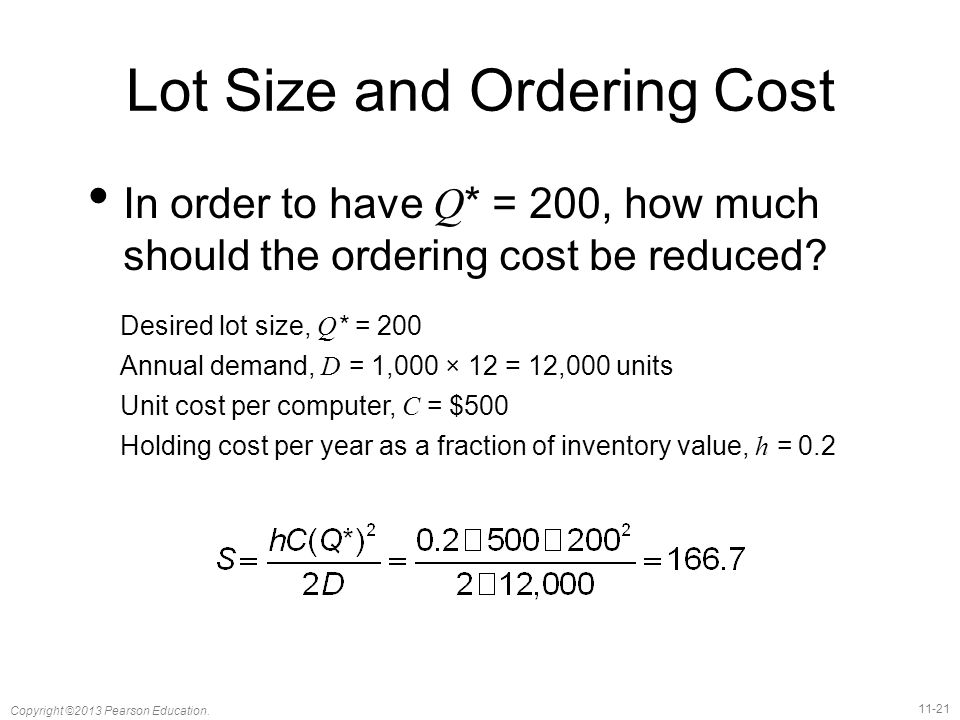 Lot Size and Ordering Cost