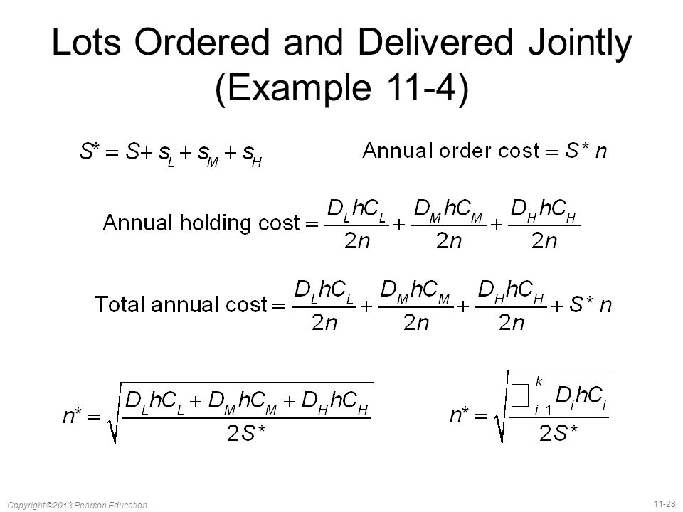 Lots Ordered and Delivered Jointly (Example 11-4)