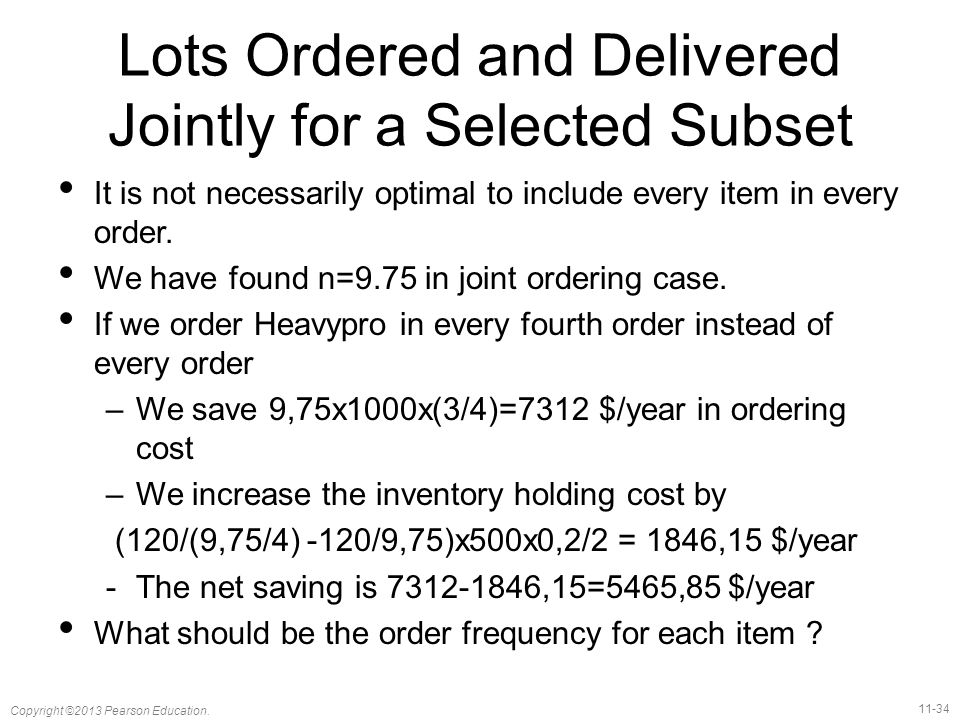 Lots Ordered and Delivered Jointly for a Selected Subset