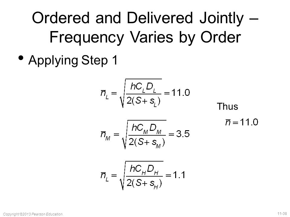 Ordered and Delivered Jointly – Frequency Varies by Order