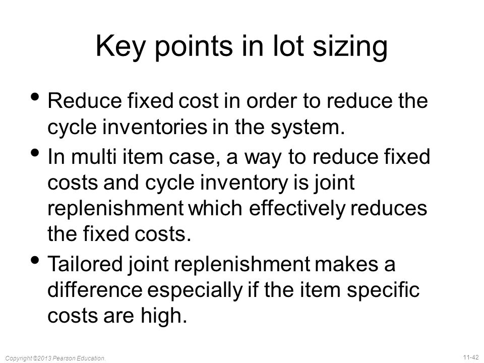 Key points in lot sizing