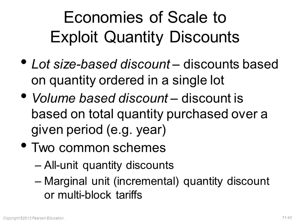 Economies of Scale to Exploit Quantity Discounts