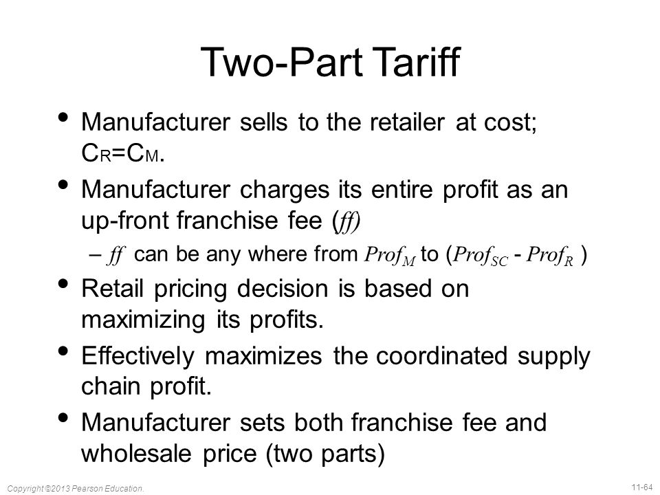 Two-Part Tariff Manufacturer sells to the retailer at cost; CR=CM.