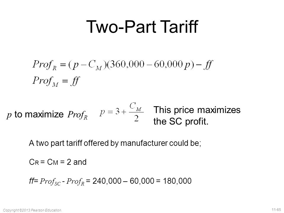 Two-Part Tariff This price maximizes p to maximize ProfR