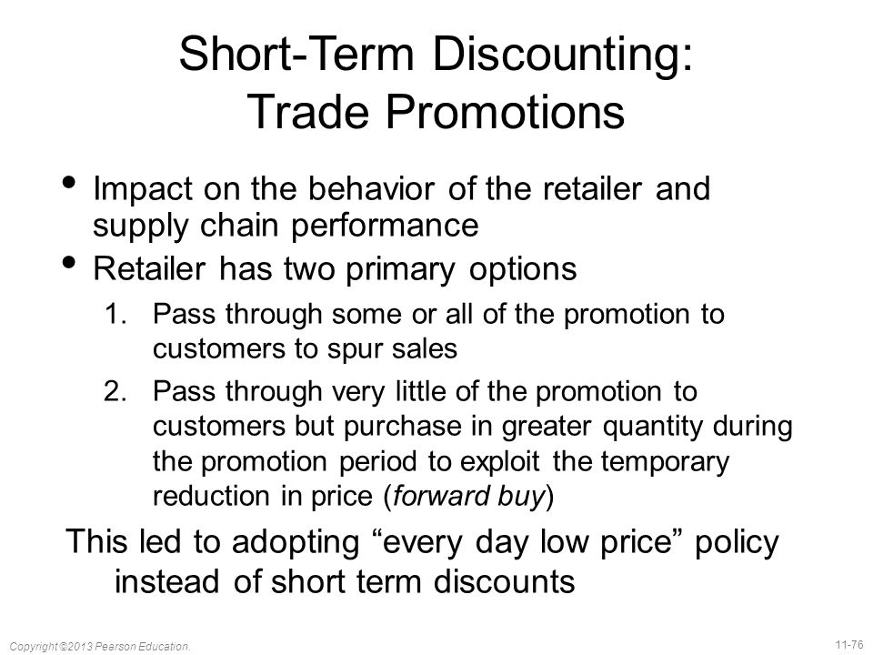 Short-Term Discounting: Trade Promotions