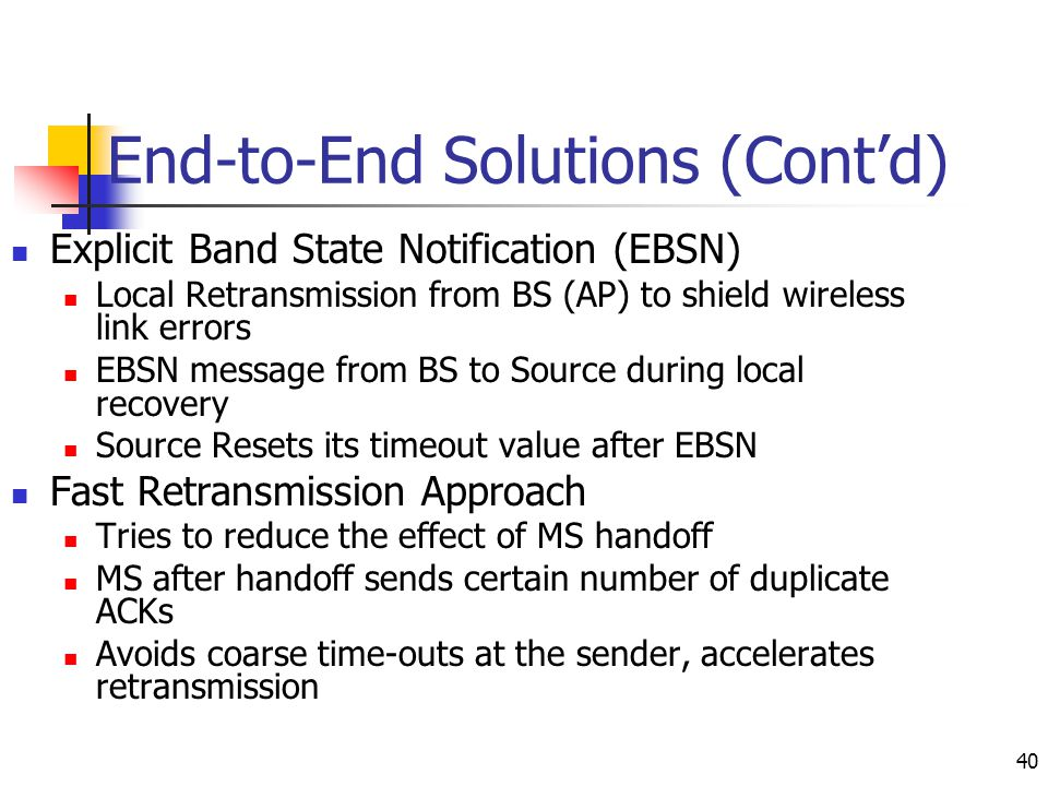 End-to-End Solutions (Cont'd)
